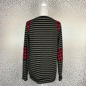 d981a0621b991 12 Pm By Mon Ami Sweaters - Stripe Buffalo Plaid Elbow Patches Sweater